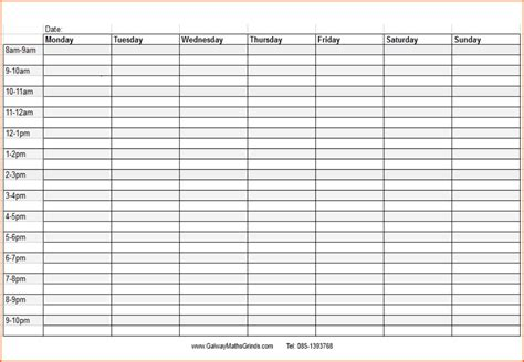 doc 746530 7 weekly planner template with times
