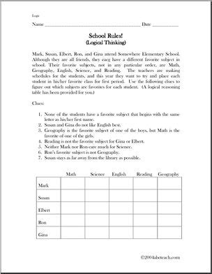 printable deduction puzzles for adults logic puzzle 2 school rules abcteach