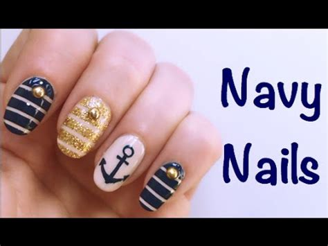 tutorial nail art mikeligna navy nails nail art tutorial mikeligna youtube