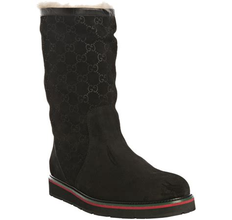 gucci black ssima suede flat boots in black for lyst
