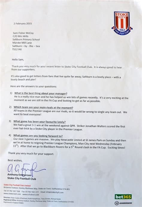 Release Letter For Player how do premier league football clubs respond to mail from
