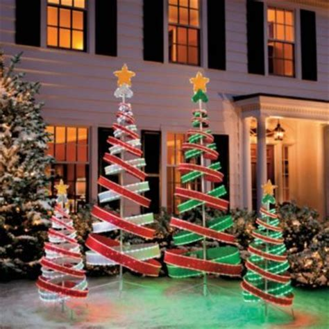 out door ribbon spursl trees light spiral tree