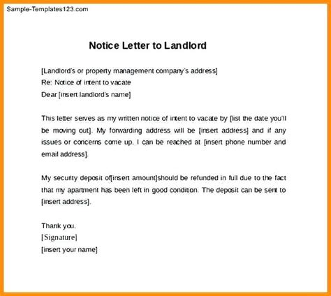 letter of notice to landlord template south africa notice to vacate letter sle notice to vacate letter 7