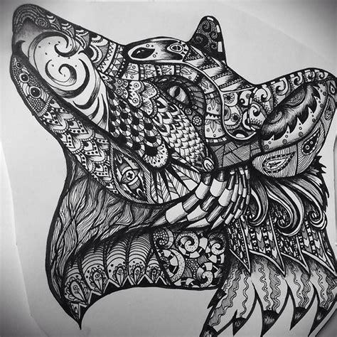 zentangle foxwolf ink  pencil zentangle zentangle