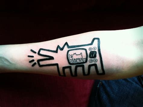 pop art tattoo pop barking tv inspired by keith haring