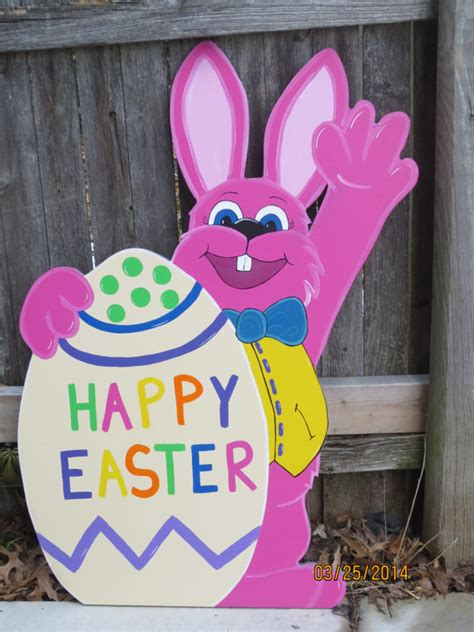 happy easter waving bunny outdoor wood sign by