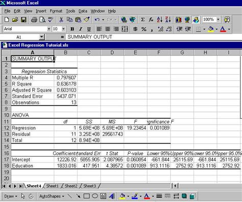 regression analysis excel template linear regression analysis exle excel