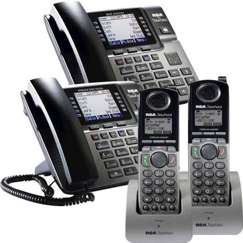 4 Phone System Rca 4 Line Expandable Business Phone System With 2 Desk Phones 2 Cordless Expansion Handsets