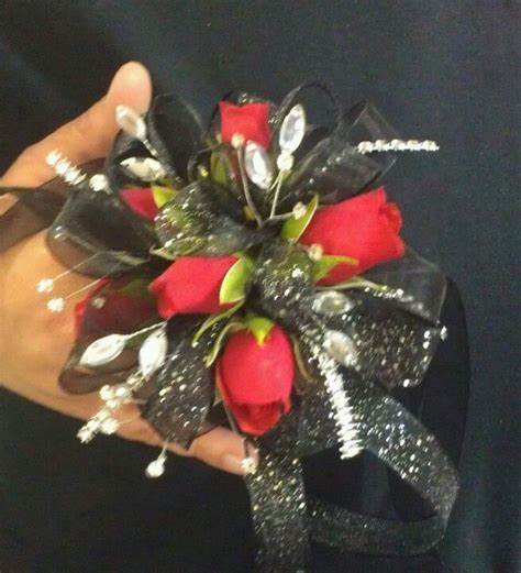corsages for prom 2015 red spray roses with black silver and rhinestone accents