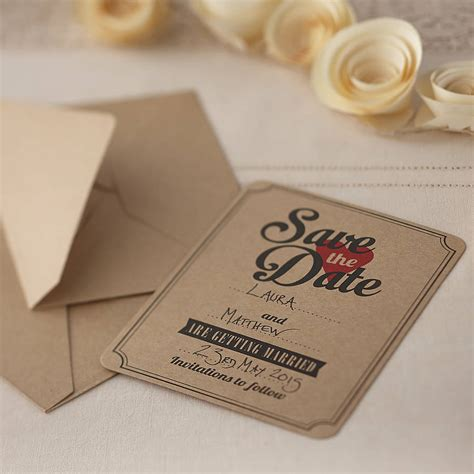 free save the date wedding invitations brown kraft save the date wedding invites by notonthehighstreet