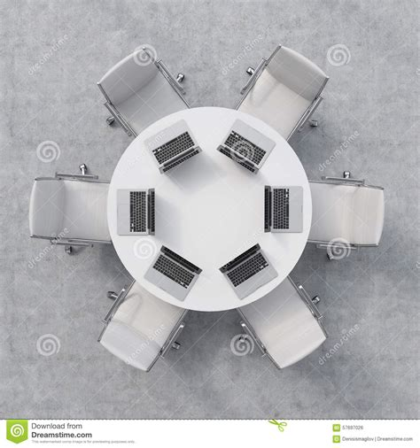 table six chairs top view of a conference room a white table six
