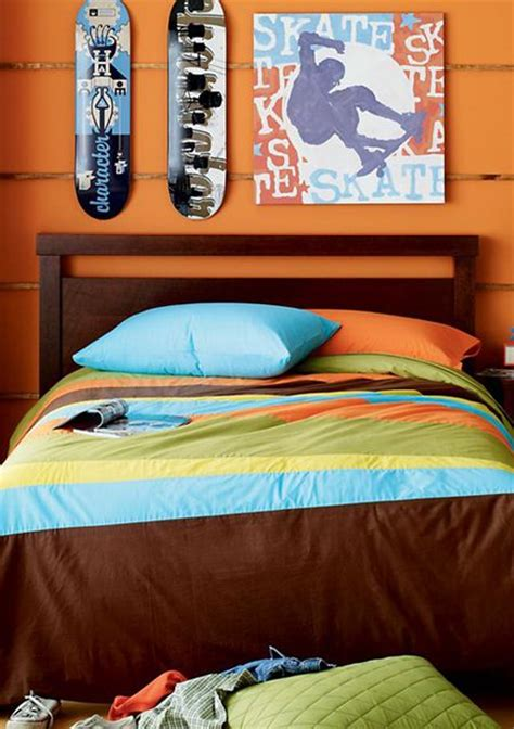 Bed Sets For Boy Boys Bedding Orange Boys Modern Bedding Stripe Comforter Set Boy Bedroom Ideas Pinterest