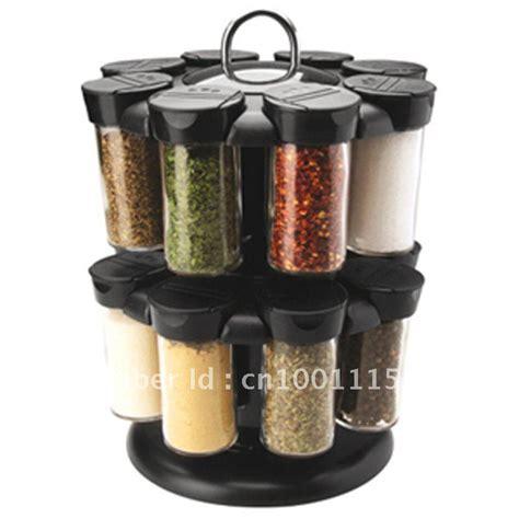 Spice Carousel 16 Jar Carousel Rotating Spice Rack Holder New Black Glass