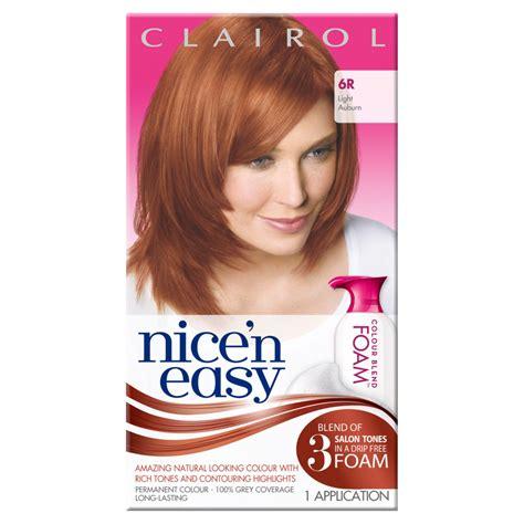 clairol n easy light auburn clairol n easy womens colour blend foam permanent