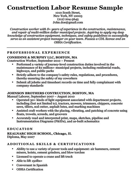 construction worker resume exle construction labor resume sle resume companion