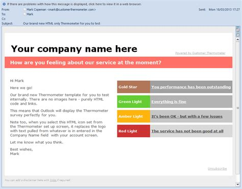 customer survey email template designing surveys for microsoft outlook customer thermometer