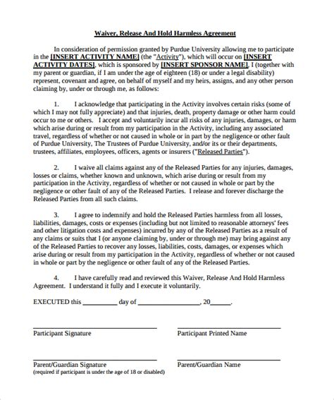 hold harmless agreement template hold harmless agreement template