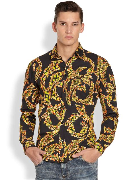 versace multicolor print sportshirt in metallic for