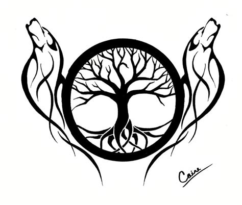 another wolf and tree of life design by calamitymoon on