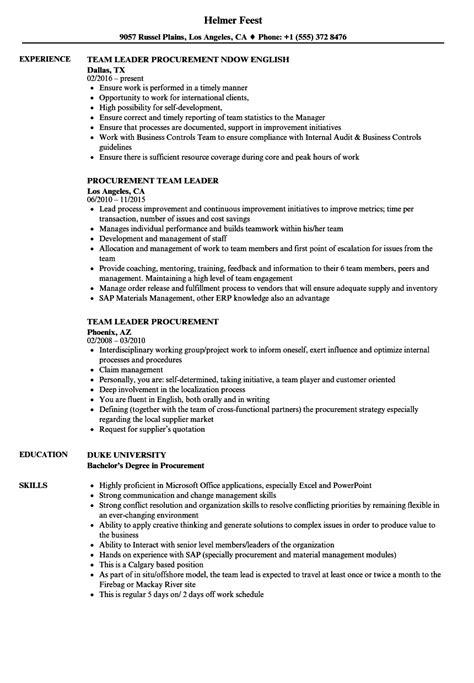procurement team leader resume sles velvet