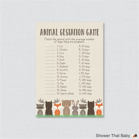 printable animal gestation game woodland baby shower animal gestation game printable animal