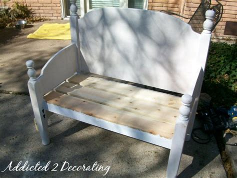 make bench out of headboard bench made from a headboard and footboard