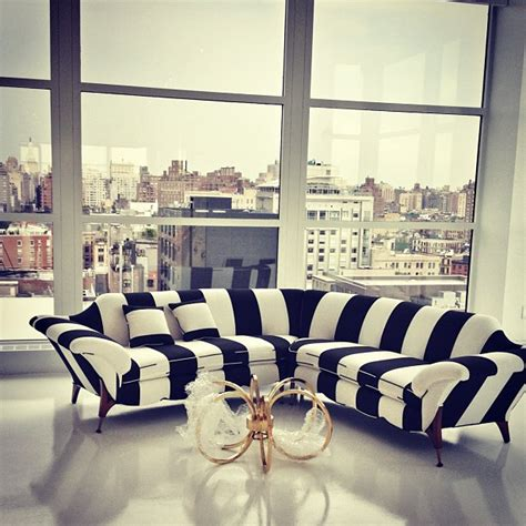black and white striped ottoman mad about stripes mad about the house