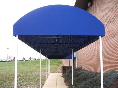 walkway awnings canopies half barrel style walkway cover clipper magazine offices