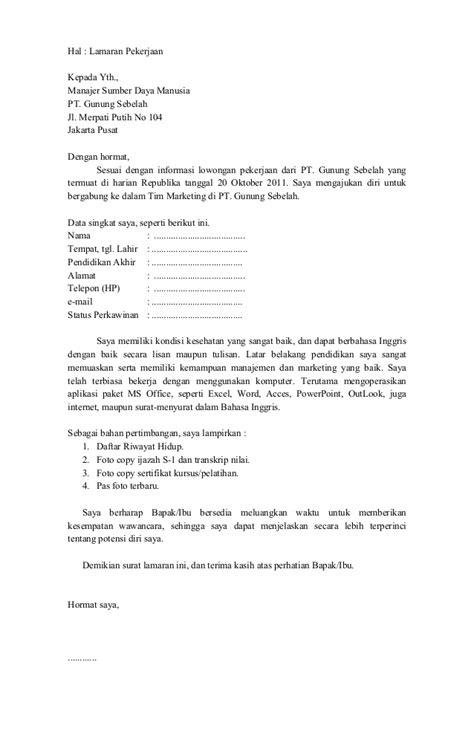 contoh surat lamaran kerja di pabrik ben
