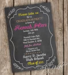graduation invitation chalkboard style digital printable fi
