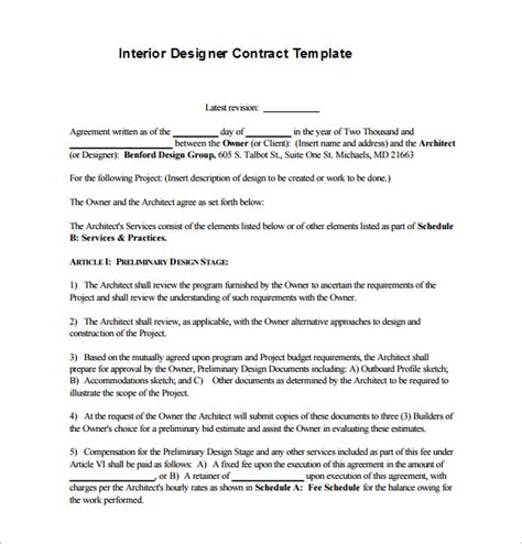 interior decorating contract template interior design contract