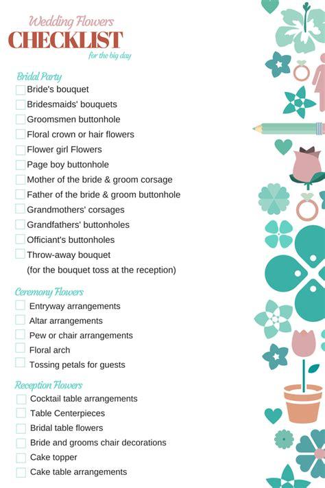 printable wedding flower checklist orchid vine florist wedding flowers checklist