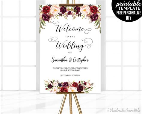 Marsala Wedding Welcome Poster Template Printable Floral Welcome Wedding Sign Blush Burgundy Welcome To The Wedding Of Template