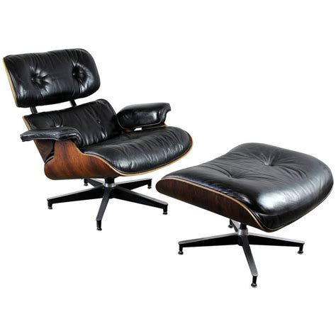 Vintage Eames Chair And Ottoman Vintage Herman Miller Eames Lounge Chair And Ottoman In Black Leather And Rosewood At 1stdibs