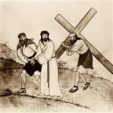 aiuto gesu a portare la croce stazione 8 ges 249 232 aiutato dal cireneo a portare la croce