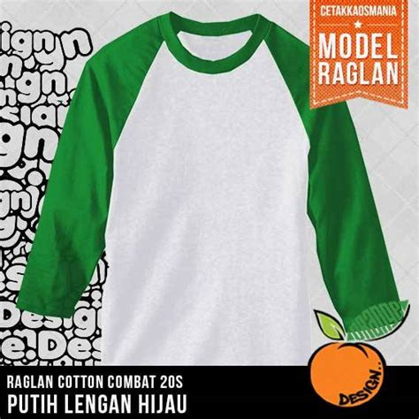 desain kaos warna putih raglan putih lengan hijau fuji cetakkaosmania