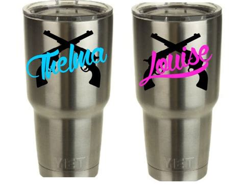pug tumbler cup thelma louise vinyl decal for yeti cup tumbler set of 2 decals by redandthepug on