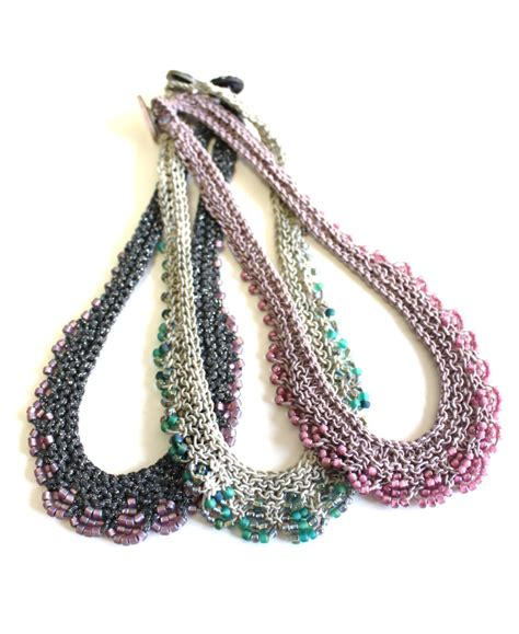 knitted beaded necklace gatsby necklace pattern bead knit necklace with button