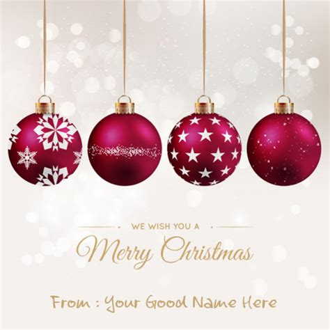 cristmas ball write name ornament with snowy background name pictures wishes greeting card