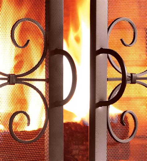 Small Crest Fireplace Screen with Doors   eBay