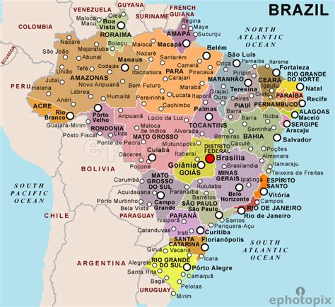 political map brazil geography brazil facil