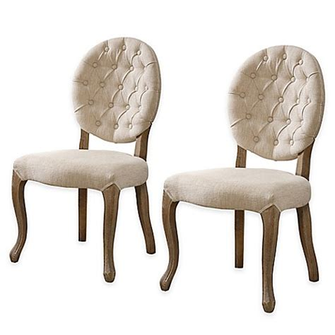 oval back chair beige shiraz linen tufted oval back side dining chairs in