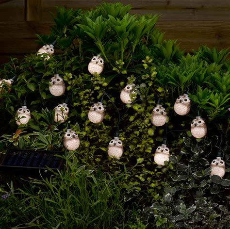 Solar Powered Owl String Lights Pack Of 16 Smart Garden Owl Solar Lights