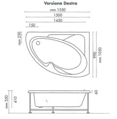 misure vasca da bagno angolare vasca da bagno non idromassaggio ad angolo 150x100 cm