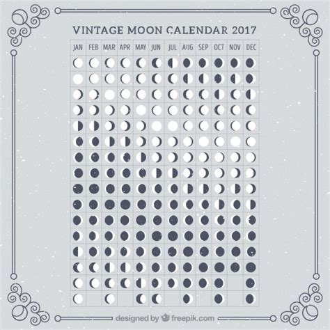 Calendario Lunar Novembro 2017 Calendario Retro Lunar De 2017 Descargar Vectores Gratis