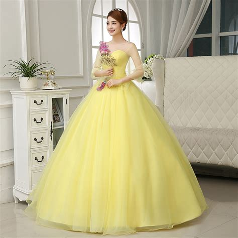 X54 To Dress Open Shoulder Kuning pink yellow embroidery rhinestone flower