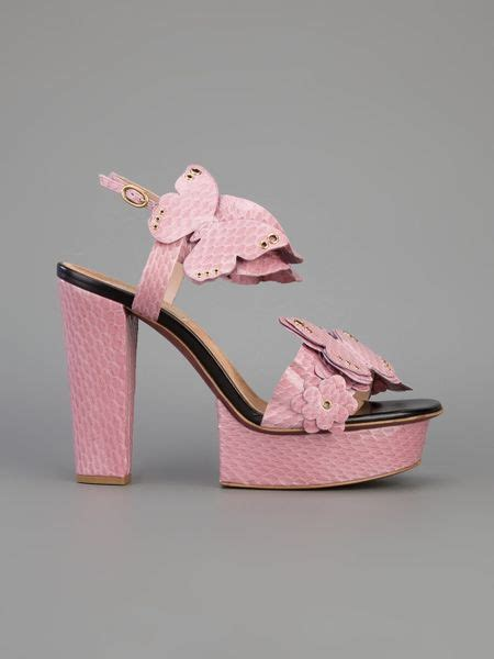 nina ricci butterfly platform heeled sandal  pink lyst