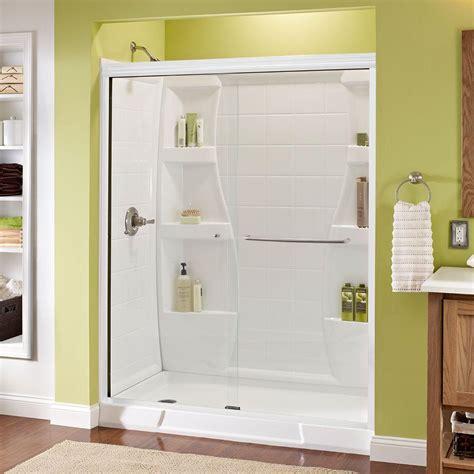 delta glass shower doors delta crestfield 60 in x 70 in semi frameless sliding shower door in bronze with glass