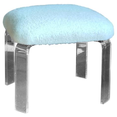 lucite ottoman lucite ottoman with natural white alpaca boucle upholstery