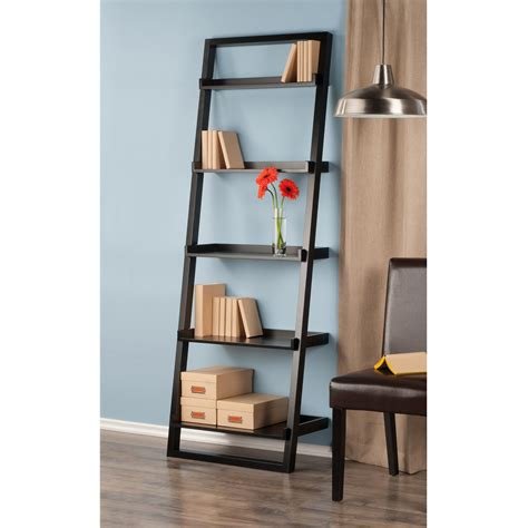 Ikea Leaning Ladder Bookcase Amazon Com Winsome Wood Bailey Leaning 5 Tier Shelving